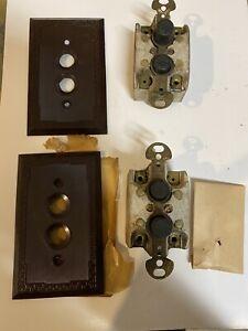Vintage Push Button Light Switch, 3-Way, Porcelain, Arrow USA.  Face plates NOS