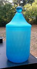 "Vintage Empoli Italian Blue Optic Satin Art Glass 12"" Apothecary Jar Canister"