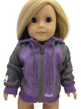 Purple Coleman Nylon Hooded Jacket made for 18 inch American Girl Doll Clothes