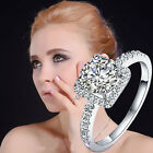 Women Cubic Zirconia Rhinestone Silver Plated Wedding Ring Size 5-8 Jewelry &&