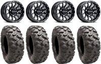 """Raceline Trophy 14"""" Wheels Black +38mm 32"""" Roctane Tires Textron Wildcat XX"""