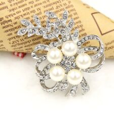 1Pc New Trendy Glass Rhinestone Ivory Pearl Silver Plated Grape-like Brooch Pin