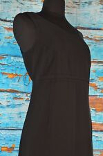 Eddie Bauer Women's Dress Sz 8 Black Side Zip Sheath Career Sleeveless Flowing