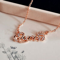Fashion Gold Letter Queen Pendant Shiny Rhinestone Clavicle Chain Necklace Gift