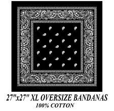 "XL SUPER BIG OVER SIZE BLACK PAISLEY 27"" Bandanna Cotton BANDANA HEAD Wrap Scarf"