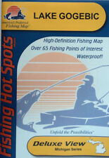 Lake Gogebic Detailed Fishing Map, GPS Points, Waterproof, Depth Contours #M200