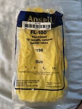 """Ansell FL-100 - 24 Pairs - 12"""" Natural Rubber Latex Gloves  #198 SIZE 9 / Medium"""