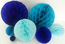 Tissue paper pom poms honeycomb ball for baby shower boy blue party decoration