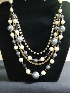 Multi 4 Strand Necklace Goldtone with Pearls & Rhinestones.