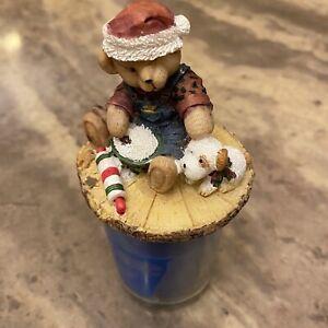 Springs Blue Jean Teddy Bear  Blue Candle Jar With Blue Jean Teddy Bear  Topper