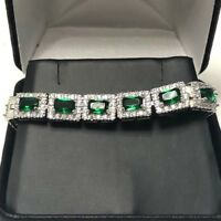 Vintage Green Emerald Diamond Halo Bracelet Wedding Jewelry 14K Gold Plated Gift