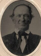 Tinted Tin Type Photo of Man Wild Hair Great Tie Embossed Paper Frame