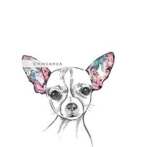 Chihuahua Flowers Hand Drawn Art Luxury Blank Birthday Greeting Card Dog Lovers