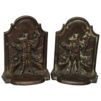 2 English Antique Fine Bronze Winchester College Bookend Sculptures