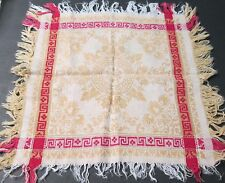 Antique Turkey Red & Yellow 4 Fringed Napkins Ferns Scrollwork Greek Key Borders