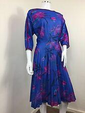 True Vintage Dress UK 14 Jersey Blue Floral Pleated Skirt Batwing Midi 1980s 90s
