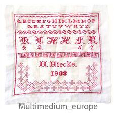 ABC Stickmuster Tuch Leinen Antik Faden rot 1908 Kreuzstich embroidery design