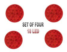 "4"" RED (18 LED) S/T/T Lights w/ Grommets -  (4 each) SEMI TRUCK"