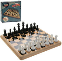 Retro Games Desktop Table Board Wooden Set of Chess 21x21cm Fun for the Family