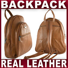 TAN REAL LEATHER BACKPACK small rucksack travel shoulder bag GENTS WOMENS NEW