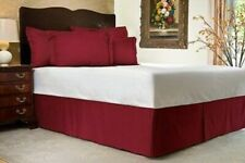 "Harmony Lane Tailored Bedskirt with 21"" Drop, King Size, Burgundy Sateen Strip"