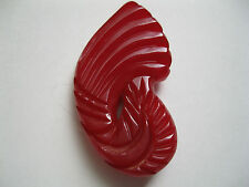 Vintage Red Bakelite Carved Fur Dress Clip