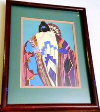 Dolona Roberts Framed Limited Edition Serigraph Blanket Native American Signed