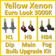 Warm White 3000K Yellow Xenon Headlight Bulb Set Main Dip Fog H1 H9 HB4 Kit