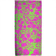 Green & Pink Skull Pattern All Over Beach Towel