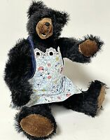 "Vintage Artist Made OOAK 11"" Black Mohair Teddy Bear By Barbara Golden"