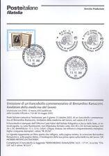 ITALIA 2003 BERNARDINO RAMAZZINI  BOLLETTINO COMPLETO DI FRANCOBOLLI ANNULLO FDC