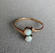 Antique Victorian 10k Gold Double Opal Ring Size 6.5