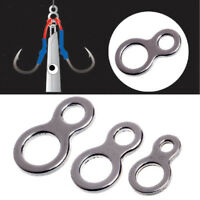 50Pcs Stainless Steel Figure 8 Solid Ring Assist Hook for Jig Fishing Tackle