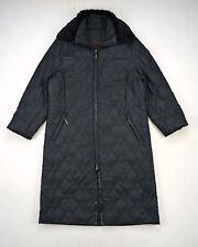 30218a13271e2 VIA SPIGA Black Soft Rabbit Fur Collar Full Length Long Trench Coat Jacket  Large