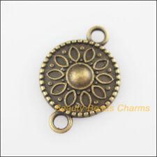 5Pcs Antiqued Bronze Tone Round Flower Charms Pendants Connectors 15.5x23mm