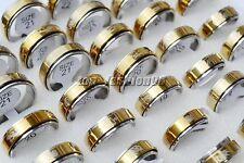 NEW wholesale Bulk 50pcs massy Turning Stainless Steel gold&silver P men's rings