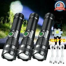 LED Flashlight Super Bright 350000LM Zoomable USB Rechargeable XH-P70 Torch Lamp