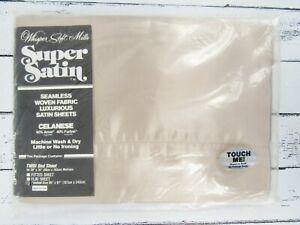Vintage NOS Whisper Mills Super Satin FLAT Twin Sheet 66 x 97 Taupe NEW