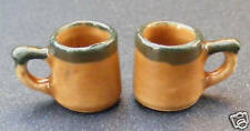 1:12 Scale 2 Ceramic Brown & Green Coffee Mugs Dolls House Drink Accessory Br30