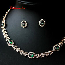 Rose Gold Filled Emerald Green Wheat Bridal Set Made With Swarovski Crystal XS19