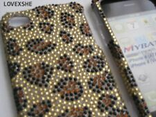 For iPHONE 4 4G 4S - DIAMOND BLING HARD SKIN CASE COVER GOLD LEOPARD CHEETAH