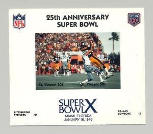 St Vincent #1409 Football Super Bowl X 1v M/S of 2 Imperf Chromalin Proof