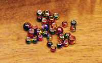Hareline Multihued Rainbow Brass Beads Metal Fly Tying Materials - All Sizes