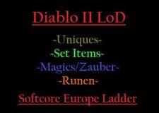 Diablo 2 LoD SC EU Ladder 8 Mule Chars voll: Uniques, Runen, Set Items. Magics