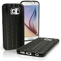 Black TPU Gel Tyre Skin Case for Samsung Galaxy S6 SM-G920 Cover + Screen Prot