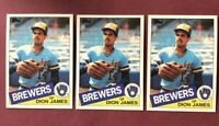1985 Topps Milwaukee Brewers Baseball Card #228 Dion James ~ Lot of 3