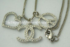 AUTHENTIC CHANEL CRYSTAL LOVE HEART SIGNATURE CC LOGO CHARM SILVER NECKLACE NEW