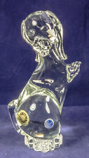 "Vintage Murano Clear Glass Dog Poodle 9"" tall Figurine Bookend Paperweight"