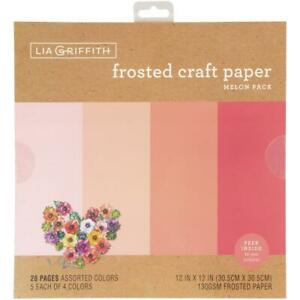 """Lia Griffith 12"""" Frosted Craft Paper Melon  12""""x12"""", 20pk"""