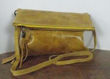 Italian Real Leather Clutch/Cross Body Convertible Bag - Mustard